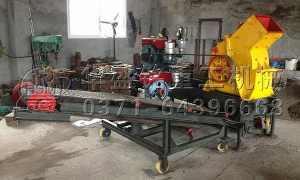 移动柴油机锤式破碎机带输送机